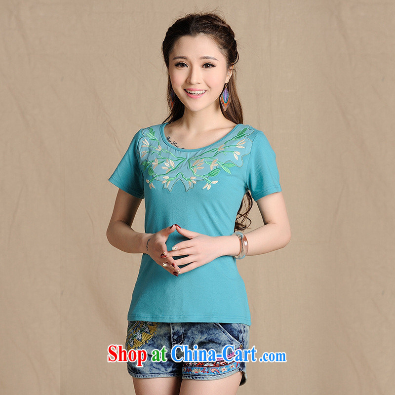 Close deals with clothing * W 8217 National wind women's clothing spring and summer new stickers, embroidered with cultivating short-sleeved cotton shirt T light green 2 XL