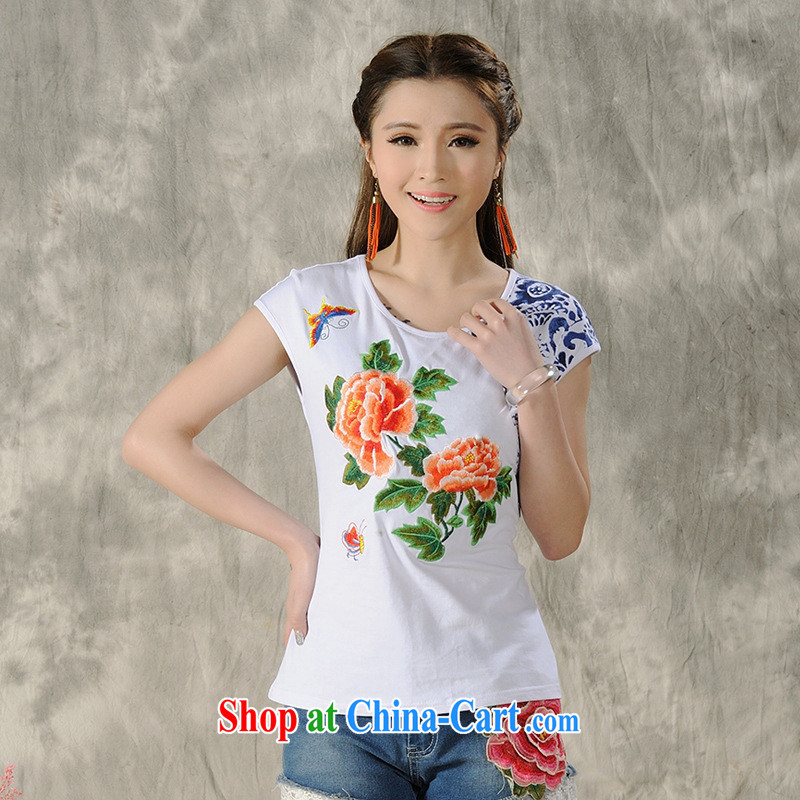 Health Concerns dress * H 9495 National wind women's clothing 2015 spring and summer new Pure Cotton embroidered cultivating short-sleeved shirt T white 2XL
