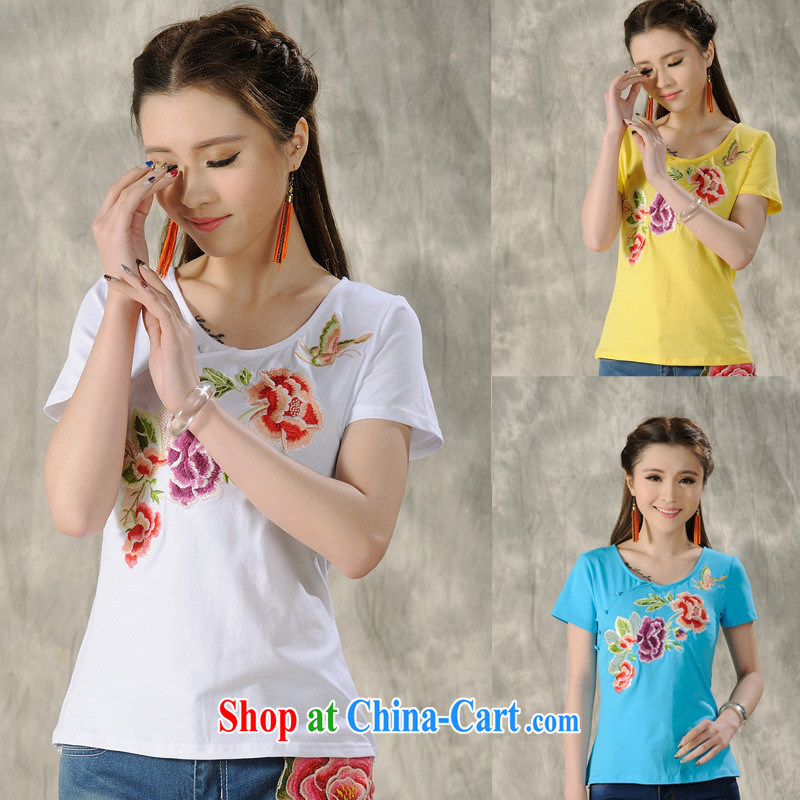 Health Concerns dress _ H 9062 National wind women's clothing 2015 spring and summer new Pure Cotton embroidered cultivating short-sleeved T shirt blue 4 XL