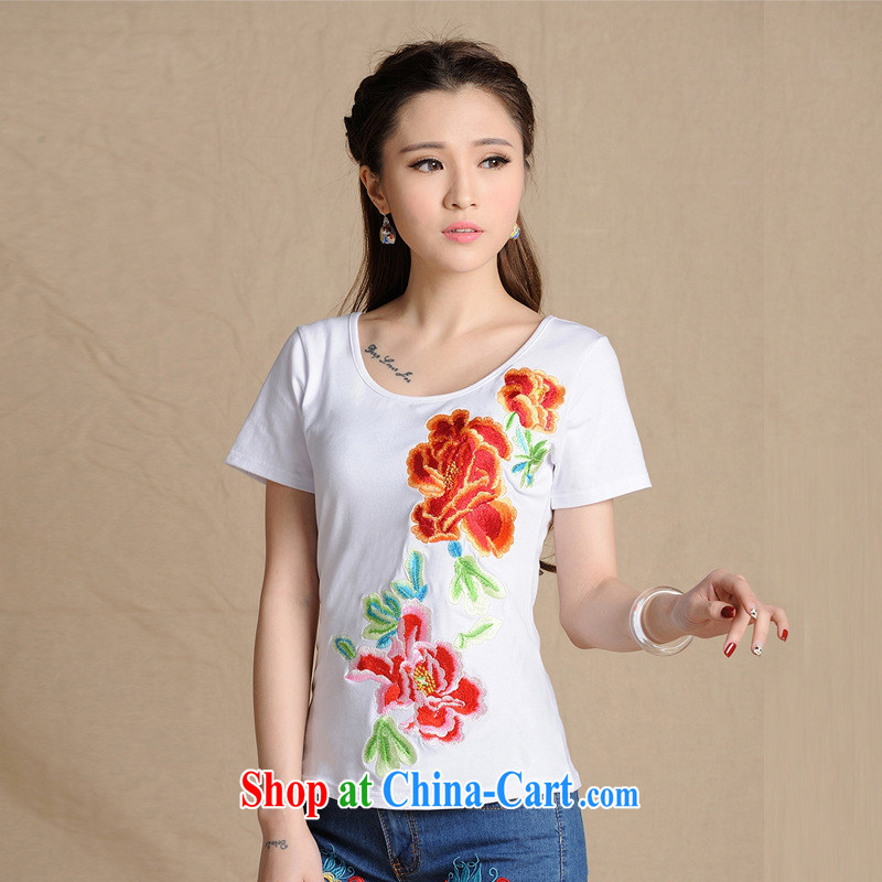 Health Concerns dress * MX 9201 National wind women's clothing spring and summer new round-collar beauty embroidered short sleeve cotton shirt T white 2XL