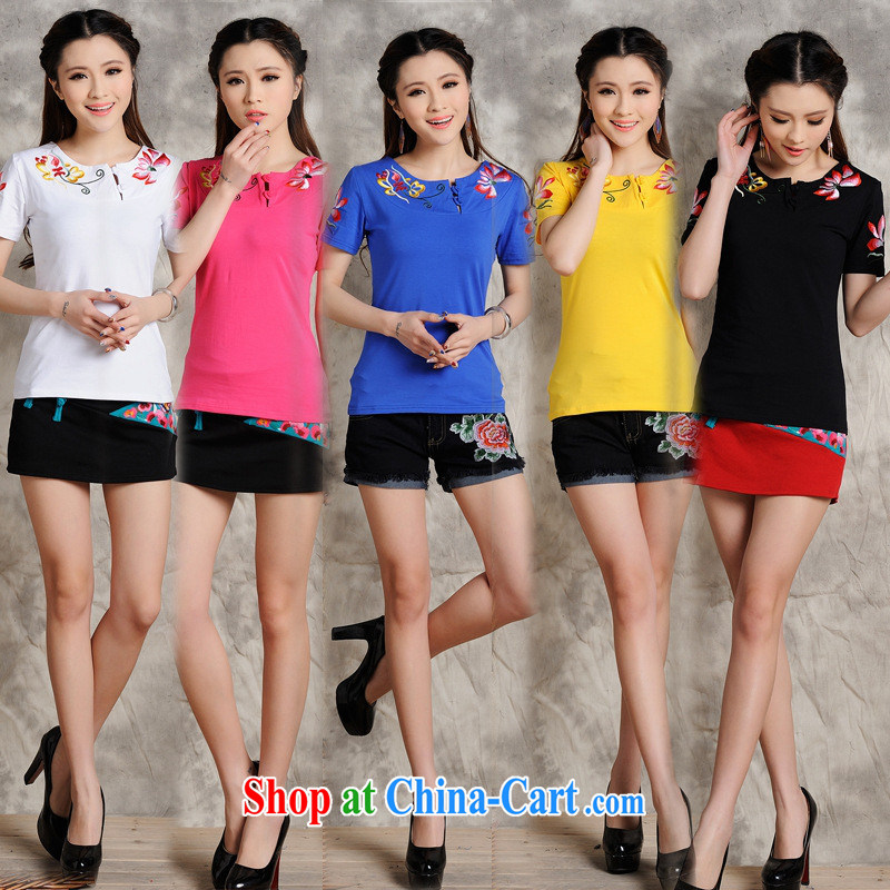Health Concerns dress _ S 100 Ethnic Wind female spring and summer new embroidered round-neck collar is tight cultivating short-sleeved cotton shirt T the red 4 XL