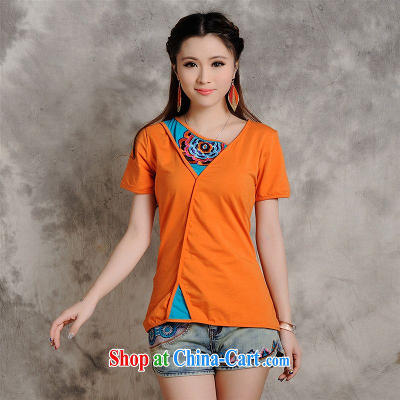 Health Concerns dress _ W 8218 National wind women's clothing spring and summer new color pin embroidery hit color beauty short-sleeved T shirt orange 2 XL
