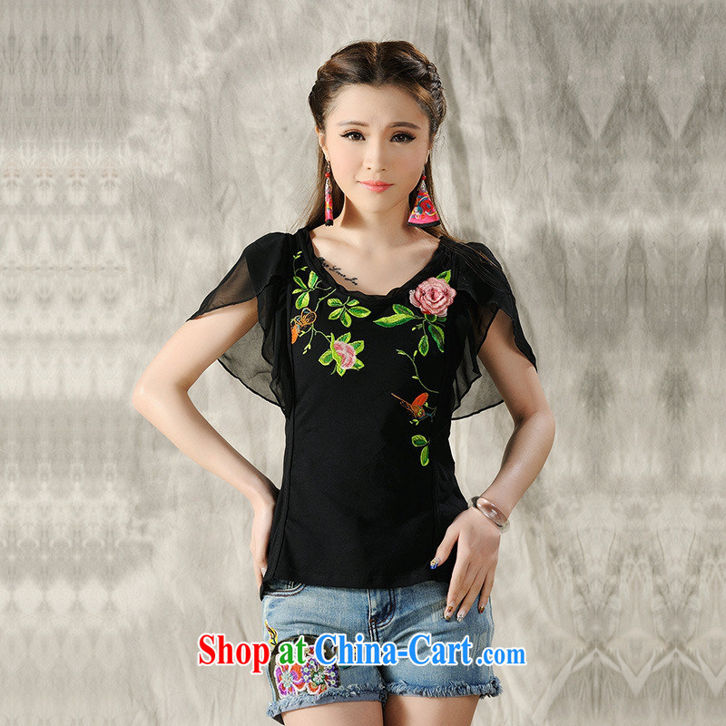 Health Concerns dress * Y 7268 National wind women's clothing spring and summer new stitching snow woven cuff embroidered cultivating short-sleeved T shirt black 2 XL