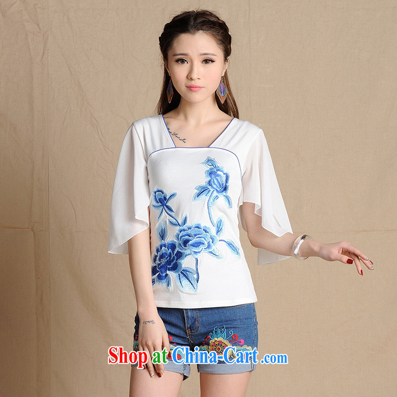 Health Concerns dress _ MX 9198 National wind women's clothing spring and summer, blue and white porcelain embroidered Pearl snow woven fly cuff cotton T white 2XL