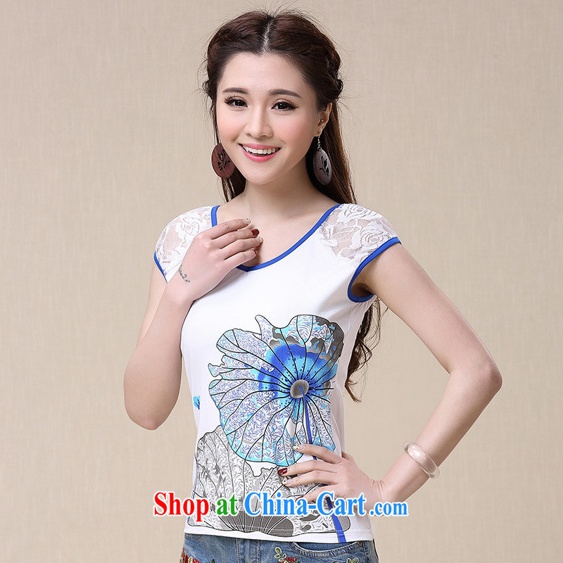 Health Concerns dress * BL 8562 National wind women's clothing spring and summer new V collar stamp lace stitching short-sleeved cotton shirt T white 2XL