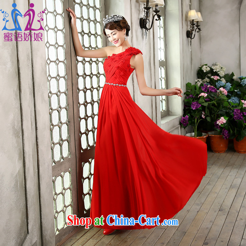 Honey, bride bridal gown long 2015 new single shoulder with Korean marriage toast serving red evening dress Evening Dress red XXL
