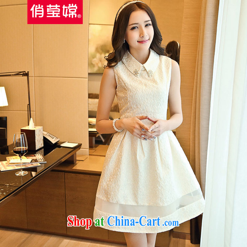 To Ying-oriented 2015 new dress Korean Beauty sleeveless lace jacquard Solid Color bridesmaid clothing wedding dress super 100 ground dress shaggy skirt white XL