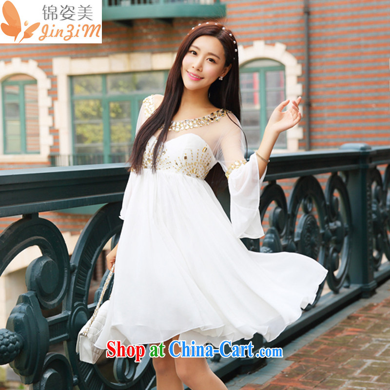 kam beauty 2015 new luxury to the staple Pearl gold water drilling large dresses dress goddess M 1260 white L