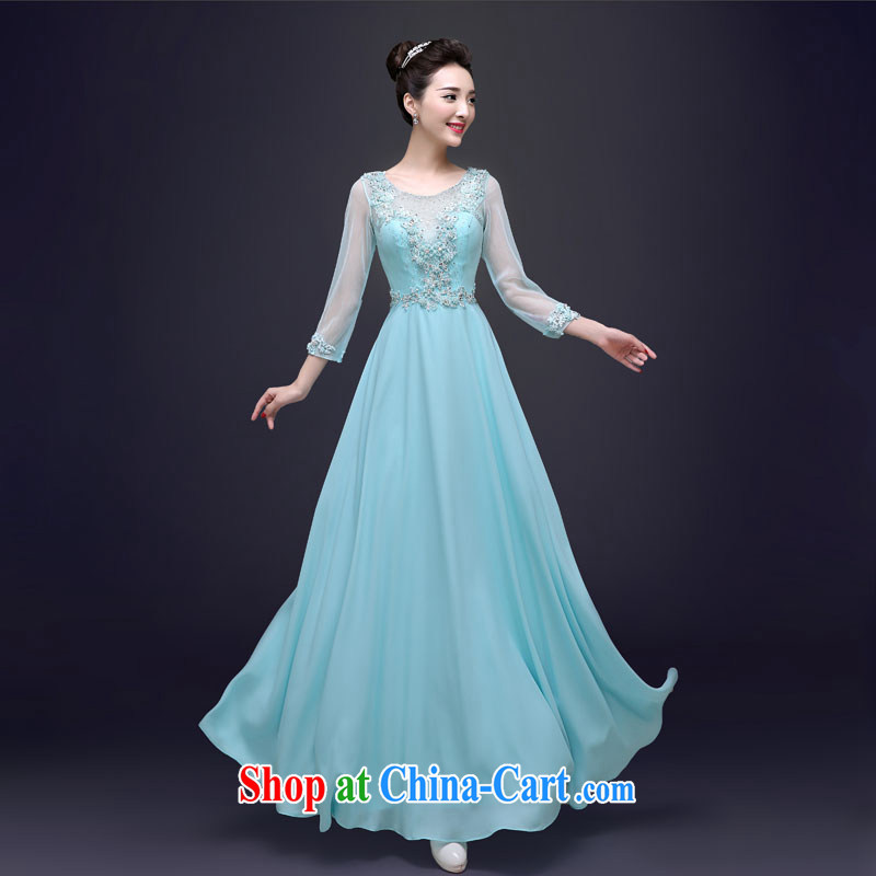 A good service is 2015 new spring and summer style Banquet exclusive beauty Ms. dress long moderator dress blue 2 XL