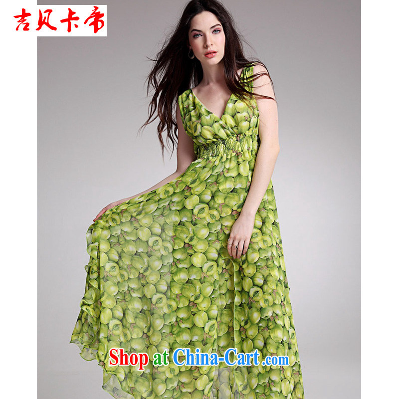 The Bekaa in Dili every summer will knock a large volume can be individually made flouncing American chest dress green L