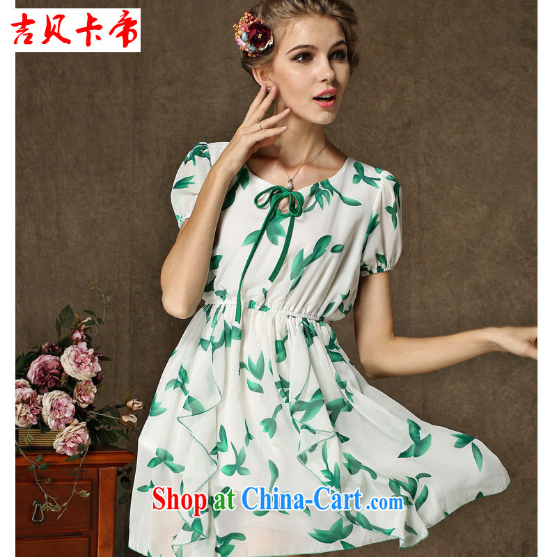 The Bekaa in Dili in Europe 2015 new summer fruits, green leaf stamp fairy short-sleeved short skirt suit 1 XL
