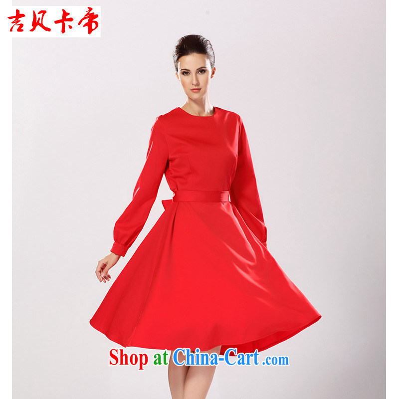The Bekaa in Dili autumn and winter decorated women in dresses with long-sleeved elegant red large dresses red XL