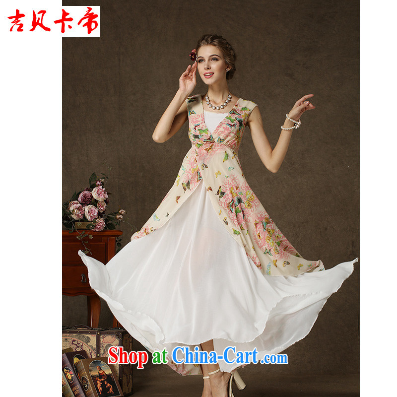 The Bekaa in Dili the Korea Composite population stamp butterfly spell white Pearl snow woven double-decker Big dresses picture color XL