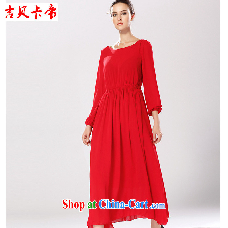 The Bekaa in Dili willows wrinkles large drag to long skirt long-sleeved dress, Muslims, single red XL