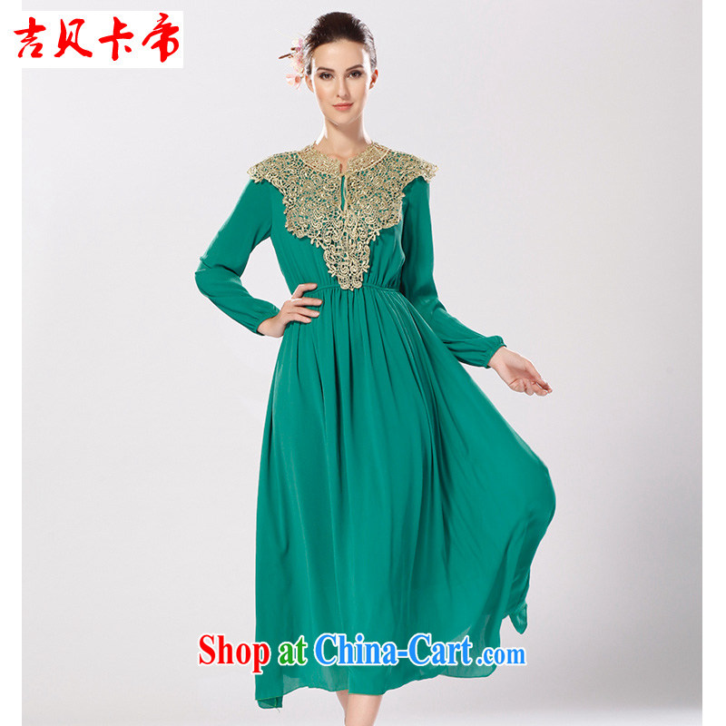 The Bekaa the Dili Court skirt gold thread shawl luxury Muslim long-sleeved large dresses Red and Green Green XL