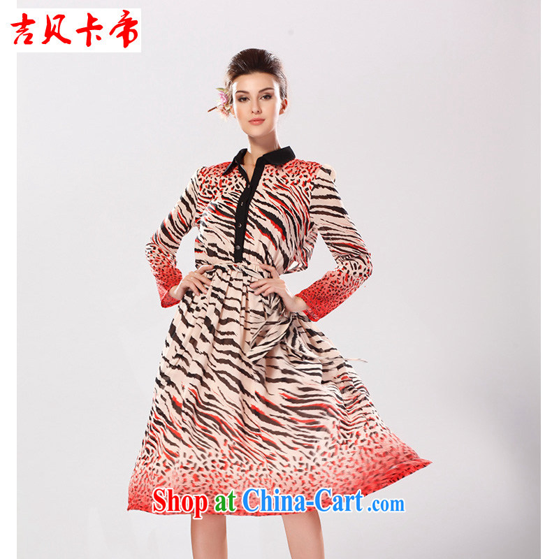 The Bekaa in Dili solid click through Leopard hit color RED, long-sleeved snow woven stamp shirt collar dresses picture color XL