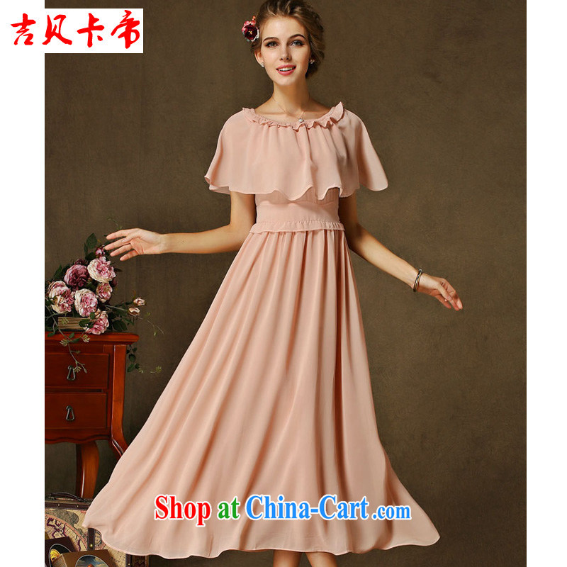 The Bekaa in Dili new high and low-profile Ruth Hong Kong shoulder dresses retro cloak long skirt 1 bare pink XL
