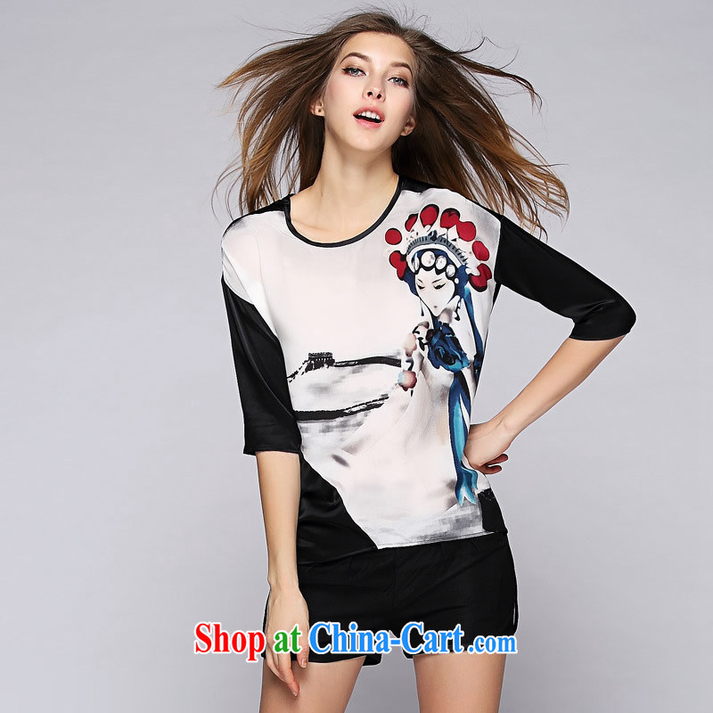 Health concerns women * The European site 2015 spring and summer new European high-end female Big Peking opera character stamp on the truck is silk jacket picture color L