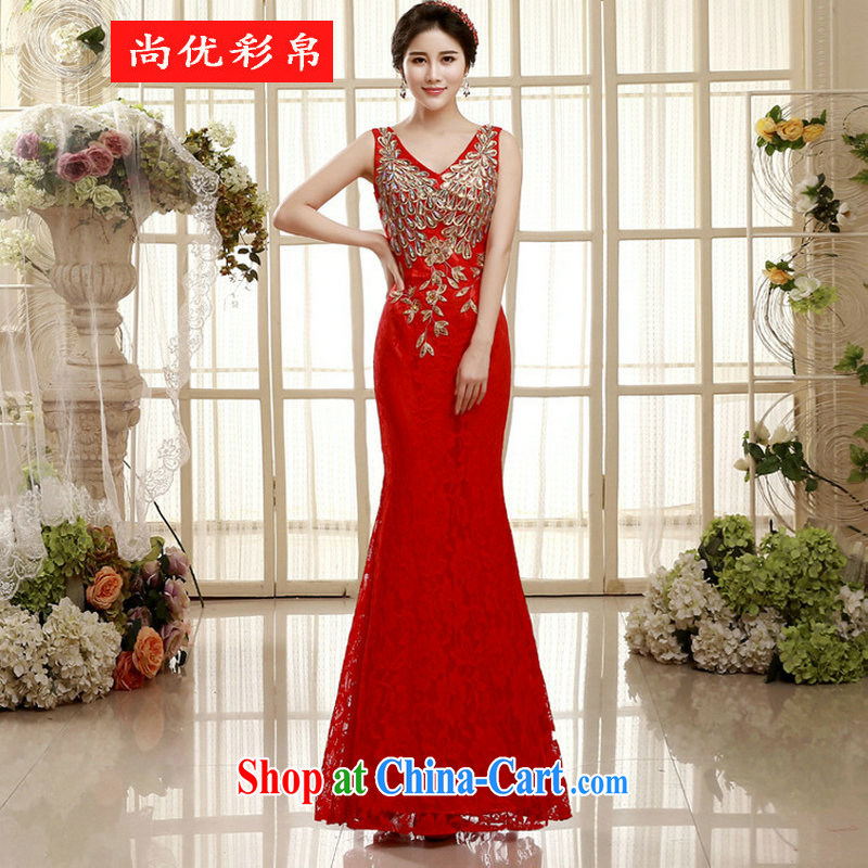 It is also optimized condolence bridal toast cultivating long skirt Evening Dress double-shoulder-length, sexy crowsfoot wedding dress XS presided over 5456 red XXL