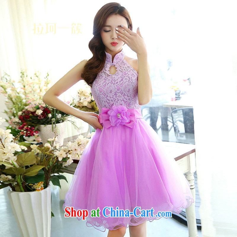 yak-a cluster spring new-bride also served toast beauty graphics thin shaggy skirts A field dress short sexy banquet dress purple XL