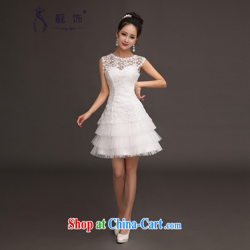 Beautiful ornaments dress 2015 new short red dress bridal toast serving Korean double-shoulder lace bridesmaid dresses in white. Do not support RMA
