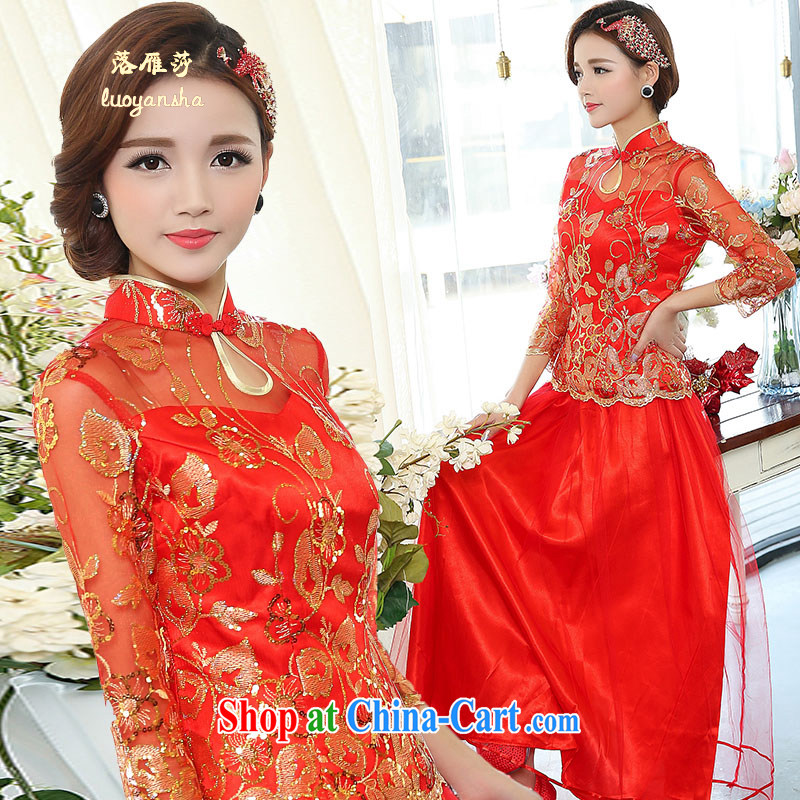 Lok Yan SA 2015 new bride toast cheongsam dress red long dress banquet etiquette qipao qipao show red XXXL