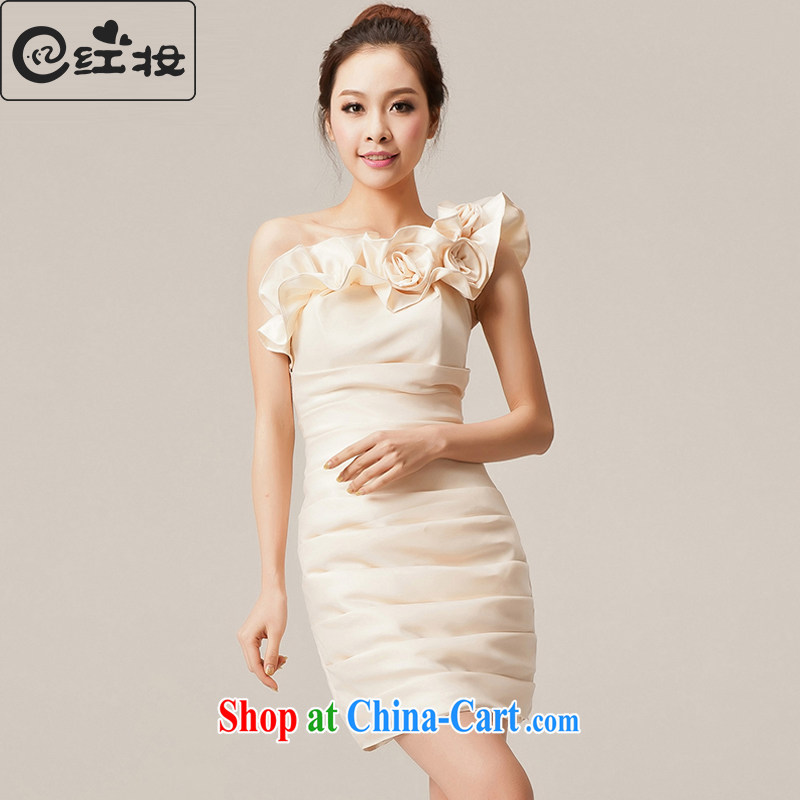 Recall that the red makeup bridesmaid dress short 2015 new graphics thin spring dress Korean marriage wedding toast L serving 12,045 champagne color XL