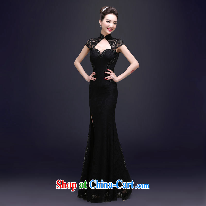 A good service is 2015 new spring upscale banqueting Evening Dress long show moderator cultivating crowsfoot dress girls black XL