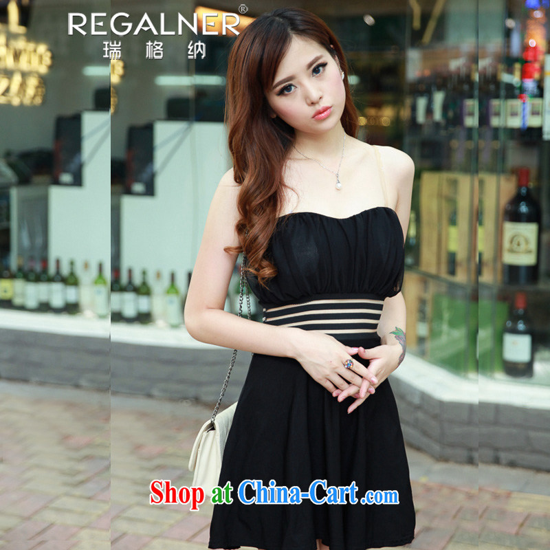 Ryan, 2015 summer new night store women's clothing sexy bare chest strap with fluoro dresses small dress black are code