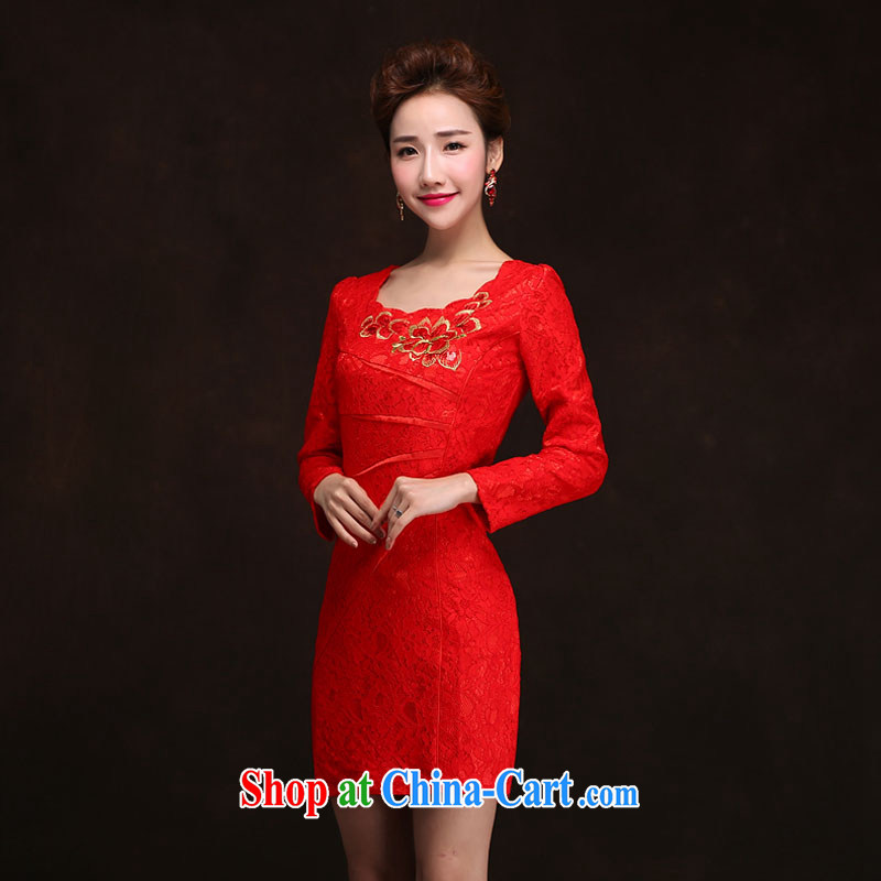 The china yarn Korean version 2015 new dresses wedding dresses spring bride, long-sleeved clothes toast summer red back door evening dress red XXL
