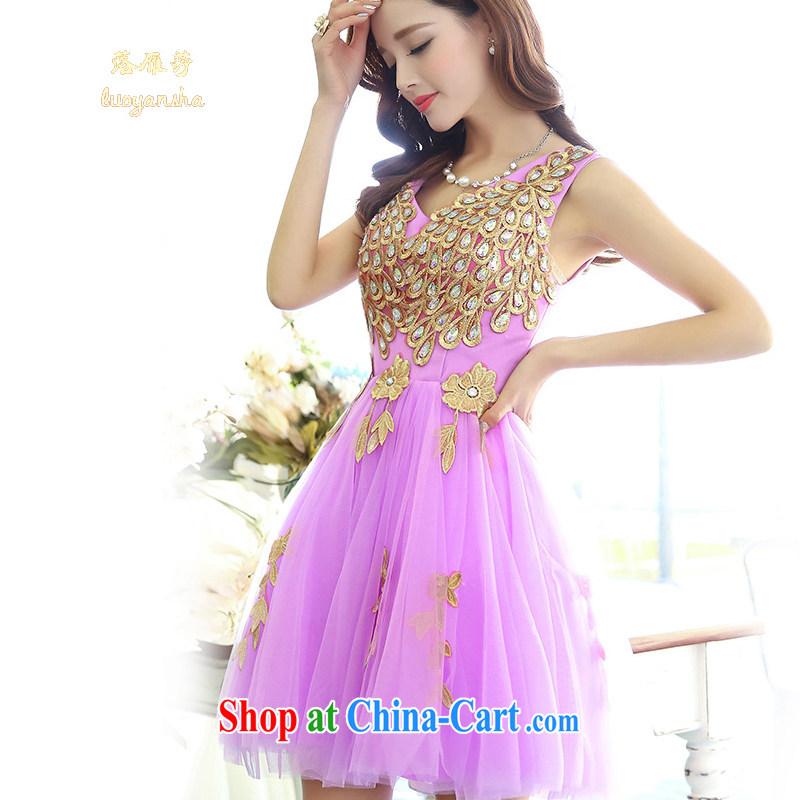 Lok Yan SA 2015 Spring Festival long-sleeved lace red dresses Korean Beauty graphics thin bows new, dresses, skirt girl purple XL