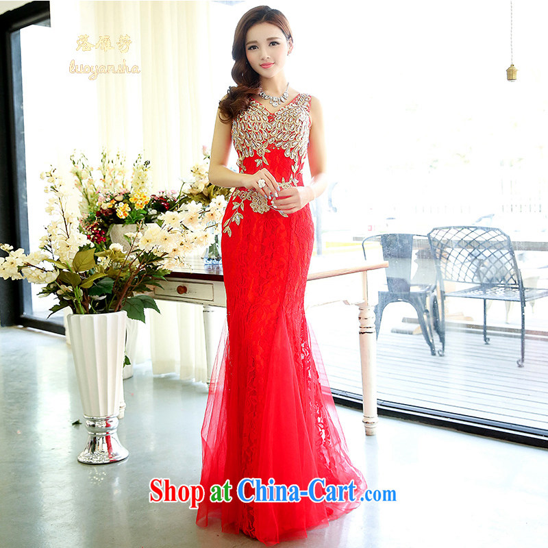 Lok Yan SA 2015 new spring, sexy V for upscale red lace crowsfoot cultivating marriages long bows dress red S