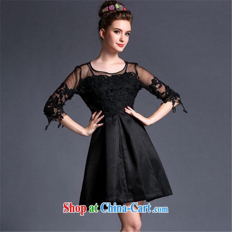 Connie, Texas real-time concept 2015 summer 2 Piece Set lace hook take a ritual dress dress shaggy dress style dress skirt black XL