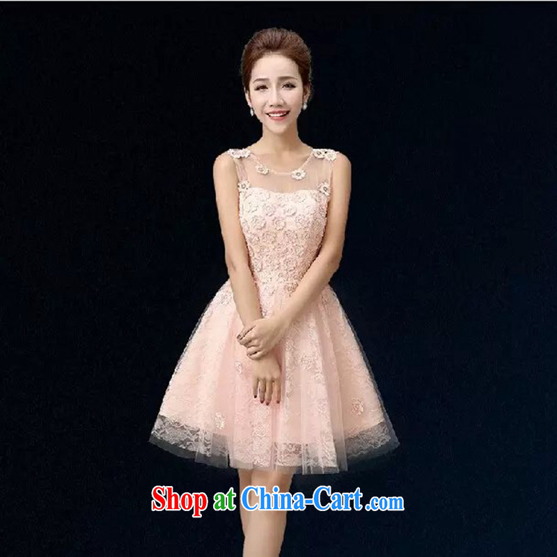 Bridal toast service 2015 New Evening Dress short banquet style bridesmaid dresses small shaggy dress pink XXXL