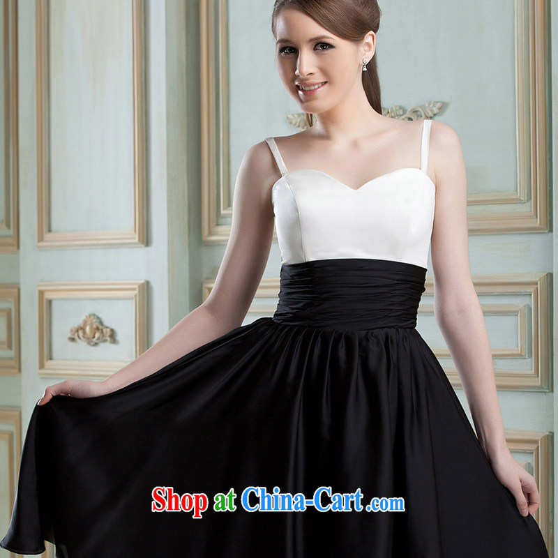 Hi Ka-hi 2015 new dress continental double-shoulder dress Love Mary Magdalene annual chest chair banquet performances dress skirt FT 01 black-and-white XXL