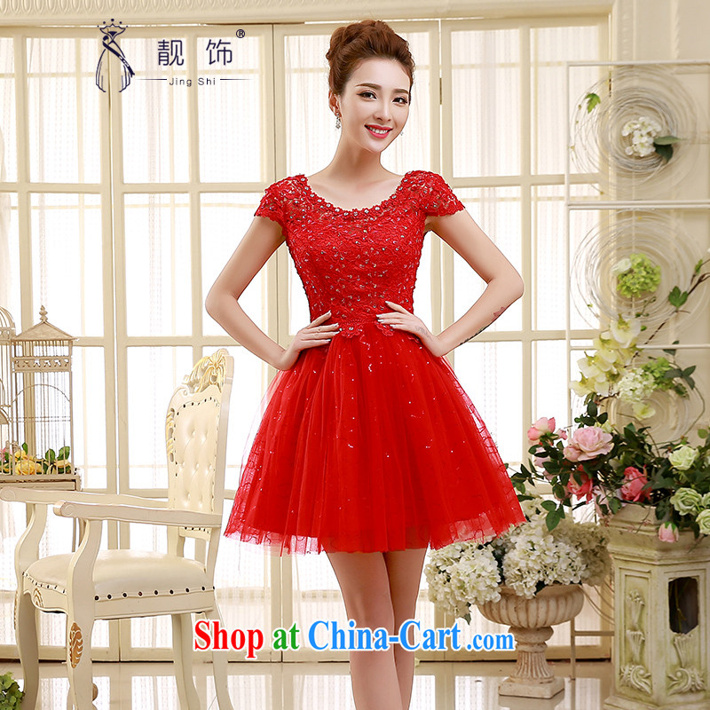 Beautiful ornaments 2015 new bridesmaid short small dress dress bridal evening dress a field shoulder short lace Princess skirt red XXL code