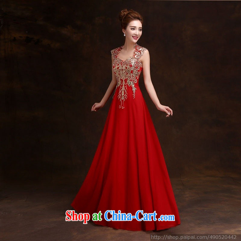 wedding dresses 2015 new winter bridal wedding dress beauty long red shoulders serving toast dress red XL