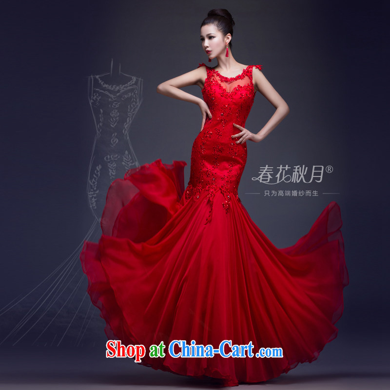 crowsfoot wedding dresses wedding toast Service Bridal annual dress spring new 2015 long dual-shoulder lace red XL
