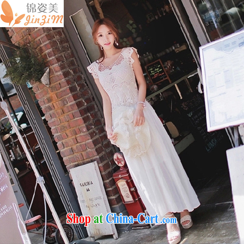 kam beauty spring and summer new Korean Beauty lace dresses white plain-colored sleeveless round neck Bohemia snow woven skirts dress M 3015 white L