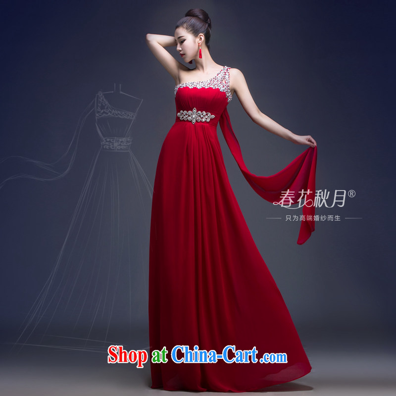 wedding dresses the shoulder bows new 2015, married women dress stylish wedding Evening Dress uniforms, long wine red XXL