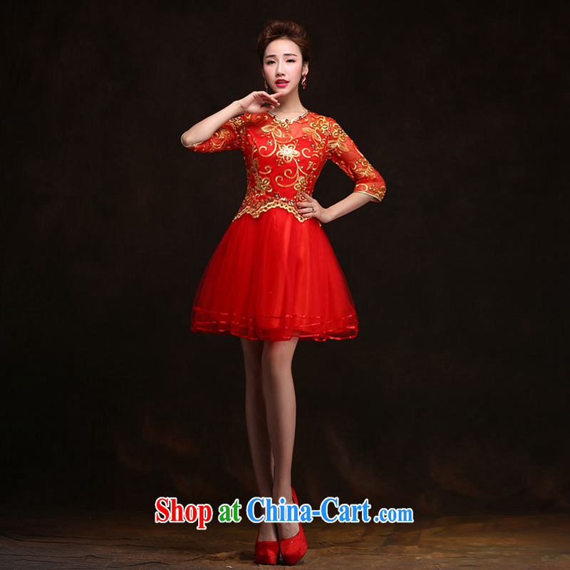 The china yarn 2015 new spring and summer short sleeves in red and stylish bridal wedding dress qipao toast serving Red. size does not accept return