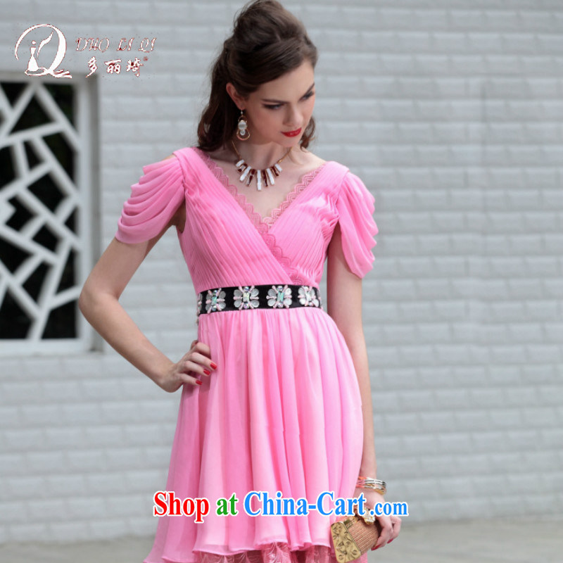 More LAI Ki Europe Evening Dress pink small dress bows small dress short dress trade short pink dresses XXL