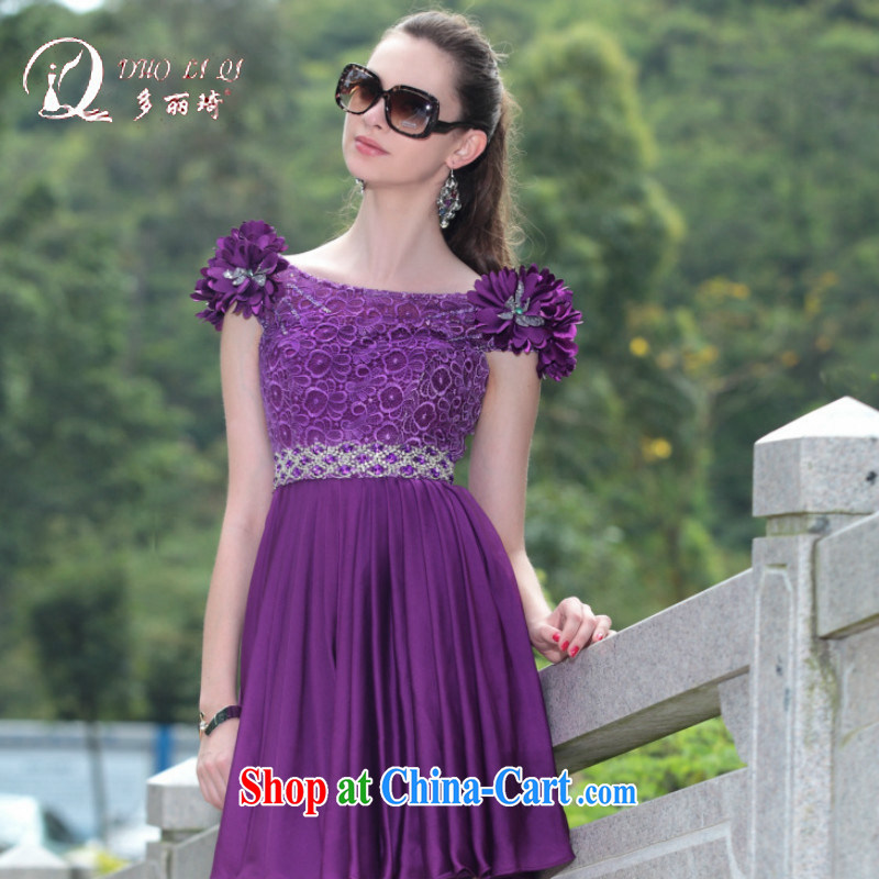 More LAI Ki Europe Evening Dress pink small dress bows small dress short dress trade short dress, Qi short evening dress purple field shoulder 100 purple XXL