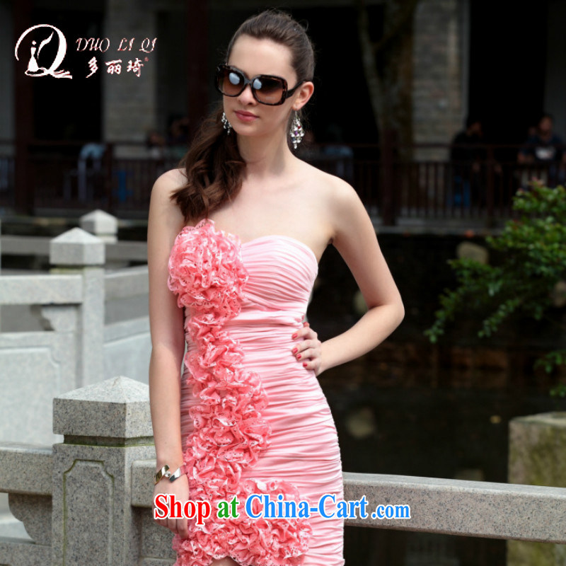 More LAI Ki Europe evening dress, Qi small dress short pink bridesmaid dress pink XXL