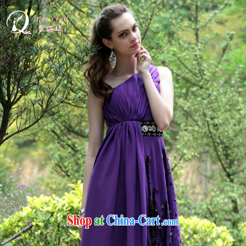 More LAI Ki dress purple single shoulder the Reception Banquet hosted small dress short dress 6028 purple XL