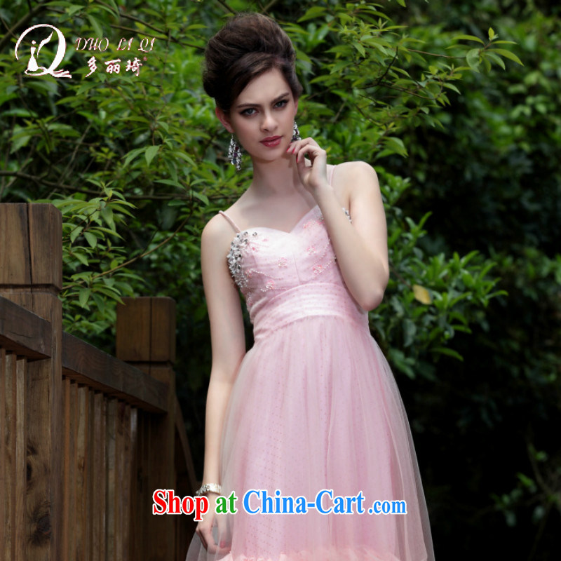 More LAI Ki small dress bridesmaid dresses small wedding pink dress in Europe and Evening Dress pink XXL