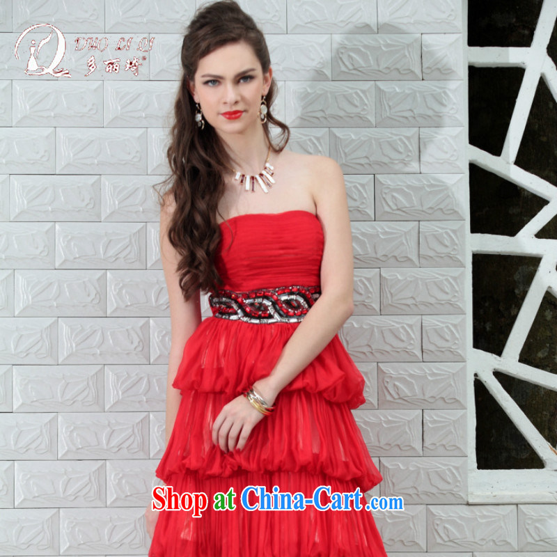 More LAI Ki small dress Little Red dress red bridesmaid dresses reception 82,697 _red XXL
