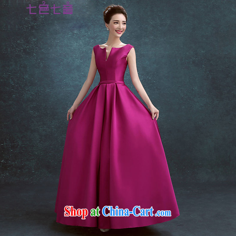 7-Color 7 tone in Europe 2015 new marriages served toast short dresses, stylish beauty small dress evening dress L 030 purple long, tailored is not returned.