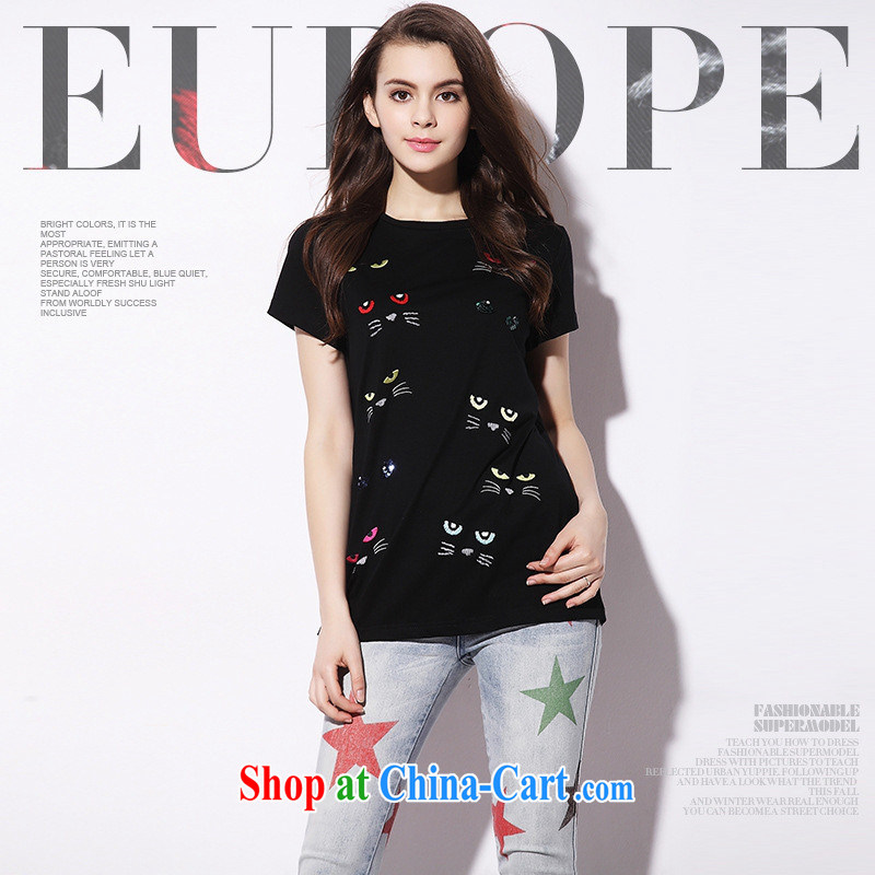 9 month dress _ European short-sleeved T-shirt female 2015 female solid shirt European site embroidered kitten silk and cotton girls T-shirt 8618 C black L