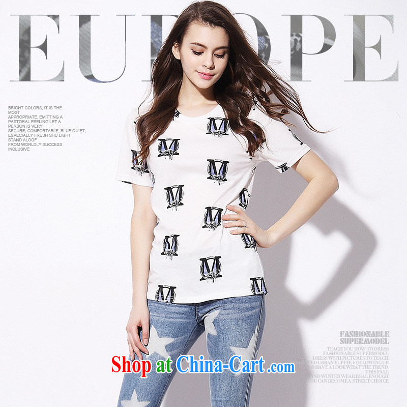 9 month dress _ European site 2015 female solid white T-shirts in Europe short-sleeved T-shirt girls cotton 8762 white L